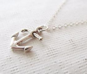 Sterling Silver Anchor Necklace, Sterling Silver Necklace, Nautical Necklace