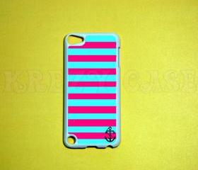 iPod Touch 5 Case, Anchor Pink and turquoise stripe iPod touch 5 Cases, iPod touch 5G Cover,Case for iPod touch 5