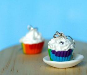 Rainbow cute earrings cupcake miniature kawaii Polymer clay sweet dessert hoop