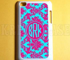 Ipod Touch 4 Case - Cute Damask Pattern with Monogram Ipod 4G Touch Case, 4th Gen Ipod Touch Cases