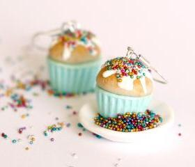 Miniature food -Blue earrings cupcake- kawaii Polymer clay sweet dessert hoop