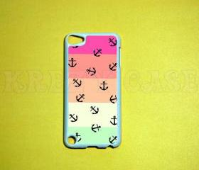 iPod Touch 5 Case, Anchor with colorful stripe iPod touch 5 Cases, iPod touch 5G Cover,Case for iPod touch 5