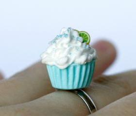 Cupcake ring Polymer clay miniature food kawaii sweet adjustable ring