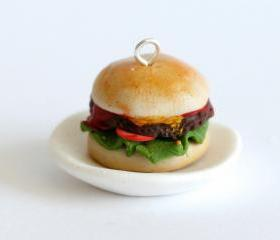 Miniature Hamburger charm made out of polymer clay