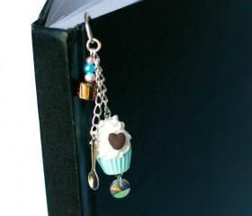 Polymer clay cupcake and beads bookmark miniature kawaii silver