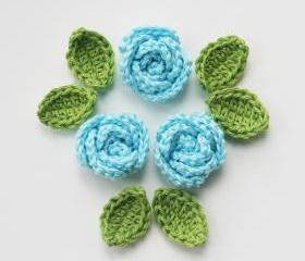 Light blue crochet roses