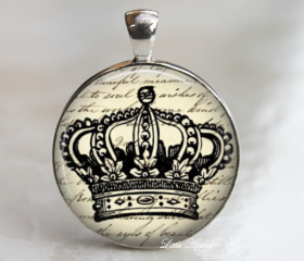vintage royal crown print illustrations glass necklace or keychain