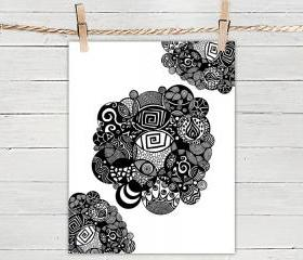 Poster Print 8x10 - Black and White Organic Circles - of Fine Art Illustration for Your Wall Decor