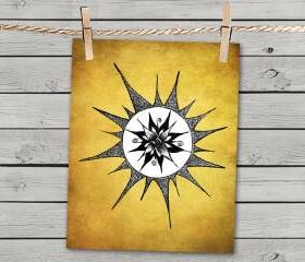Poster Print 8x10 - Yellow Sun Flower - of Fine Art Illustration for Your Wall Decor