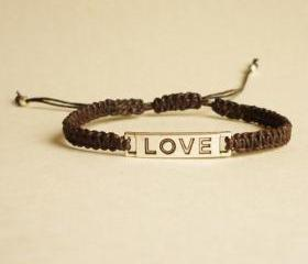 Love Tag in Black Adjustable Bracelet - Unisex - Gift for Him - Friendship Bracelet - Gift under 15