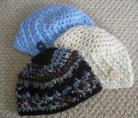 Baby boy hats . SET OF 3 Beanie caps. Crochet newborn to 3 month size. Great Photo Prop
