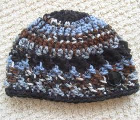 Baby Boy Hat . Crochet Beanie Cap. Newborn To Three Month Size. Great Photo Prop