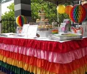 Rainbow Ruffle Tablecloth