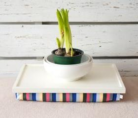 Laptop Lap Desk or Breakfast serving Tray - Off White with Multicolor Lycra Pillow