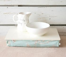 Laptop Lap Desk or Breakfast serving Tray without borders - Off White with Sky Blue Aqua Floral Pillow