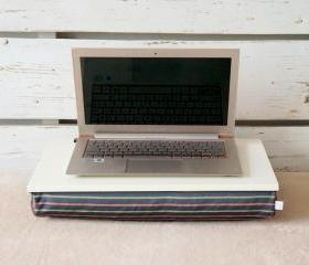 Wooden Laptop Lap Desk or Breakfast serving Tray without borders- Off White with Grey, mint and pale red striped polyester fabric