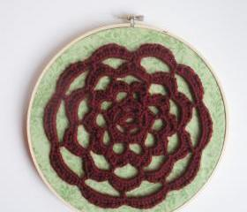 Oxblood and Mint Free Form Crochet Hoop Art with lacey rose design, ready to ship.