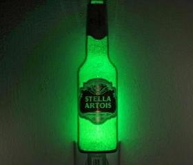 Stella Artois Jumbo Night Light / Accent Lamp- VIDEO DEMO- Eco LED...'Diamond Like' Glass Crystal Coating on interior