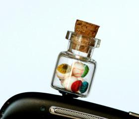 Anti dust plug for phone -eyeballs bottle miniature creepy Polymer clay