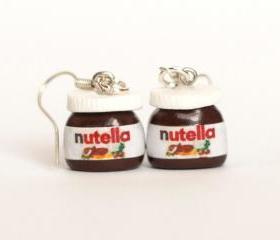 Nutella earrings kawaii chocolate miniature Polymer clay dangle