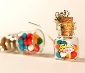 Polymer clay kawaii earrings gum balls bottle jar miniature sweet hoop