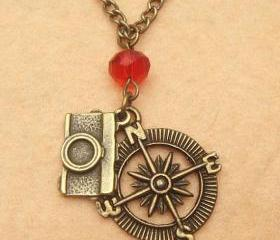 Camera Compass and Crystal Necklace
