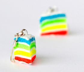 Rainbow cake earrings miniature food Polymer clay neon hoop sweet dessert