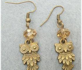 Owl Crystal Earrings
