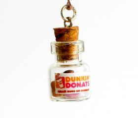 Dunkin Donuts kawaii necklace jar polymer clay miniature bottle sweet desert pink necklace