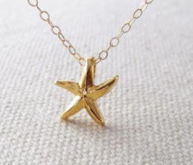 Gold Star Fish Necklace, 14kt Gold Filled Necklace, Gift for Her