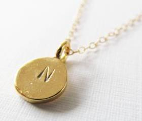 Personalized Initial Necklace, Monogram Necklace14kt Gold Filled Necklace Gift for Her