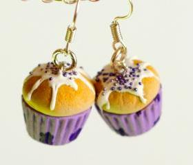 Miniature food - Purple earrings cupcake- Purple flowers kawaii Polymer clay sweet dessert hoop