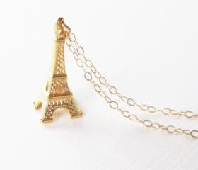 Eiffel Tower Necklace, Gold Filled Necklace Gift for Her