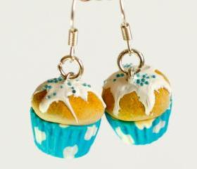 Cute earrings cupcake sky miniature kawaii Polymer clay sweet dessert hoop