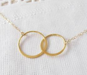 Gold Eternity Necklace, 14kt Gold Filled Necklace, Gift for Her