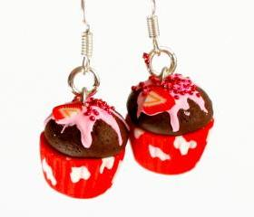 miniature earrings cupcake strawberry kawaii Polymer clay sweet dessert hoop