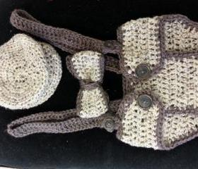 Crochet diaper cover set with removable suspenders/photo prop