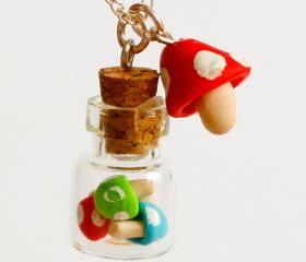 Bottle necklace polymer clay mushroom miniature kawaii jar