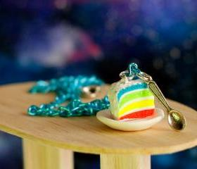 Rainbow cake necklace neon miniature food Polymer clay sweet dessert