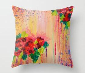 STRAWBERRY CONFETTI Abstract Pink Peach Floral Garden Painting Design Durable Polyester Doube-Sided 18 x 18 Pillow Cover, Stylish Home Decor