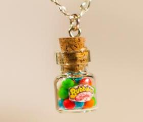gum balls necklace miniature kawaii bottle Polymer clay jar miniature sweet
