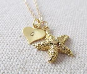 Personalized Initial StarfishNecklace, 14kt Gold Filled Necklace Gift for Her
