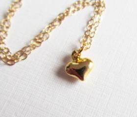 Tiny Puffy Heart Necklace, 14kt Gold Filled Necklace, Gift for Her