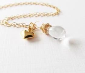 Tear Drop/Puffy Heart Necklace, 14kt Gold Filled Necklace, Gift for Her