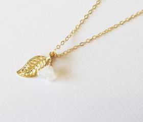 Gold Leaf Necklace, Gold Filled Necklace Gift for Her