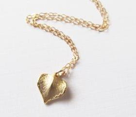 Leaf Heart Necklace, 14kt Gold Filled Necklace Gift for Her