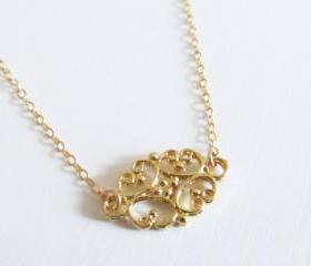 Gold Filligree Necklace, 14kt Gold Filled Necklace, Gift for Her