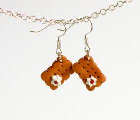 Biscuit earrings kawaii whipped cream miniature Polymer clay dangle
