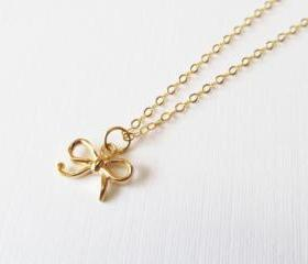 Gold Bow Necklace, Gold Filled Necklace Gift for Her