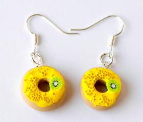 Polymer clay donuts earrings miniature food yellow sprinkles hoop